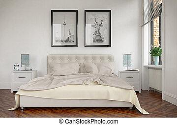 moderno, -, 3d, render, camera letto