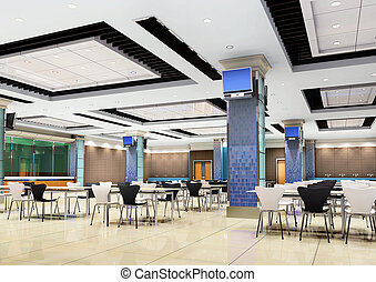 moderno, 3d, ristorante