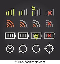 moderno, adminículo, color, aplicación, iconos, cocollection