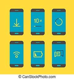 moderno, adminículo, con, diferente, sistema, messages., lineart, vector, ilustración