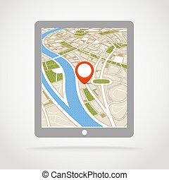 moderno, adminículo, con, resumen, mapa ciudad