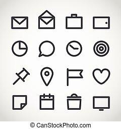 moderno, adminículo, iconos de la tela, colección