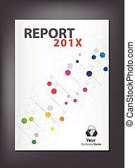 moderno, adn, anual, cubierta, tema, diseño, informe,...