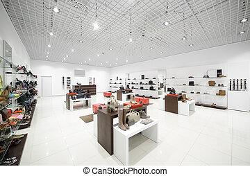 moderno, alameda, zapato, interior, tienda, europeo