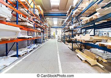 moderno, almacén, con, symetric, filas, de, estantes, interior