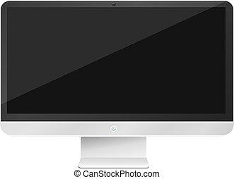 moderno, alta tecnología, computadora, aislado, blanco, fondo., vacío, monitor, screen., vector, illustration., eps, 10