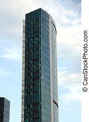 moderno, alto-altezza, costruzione ufficio