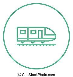 moderno, alto, linea treno, velocità, icon.