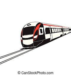 moderno, alto, treno, fondo, bianco, velocità