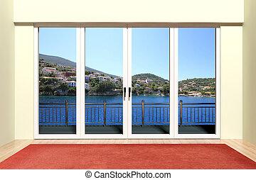 moderno, aluminio, ventana, con, hermoso, vista