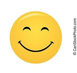 moderno, amarillo, reír, feliz, sonrisa