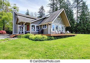 moderno, americano, casa fattoria, con, primavera, paesaggio.