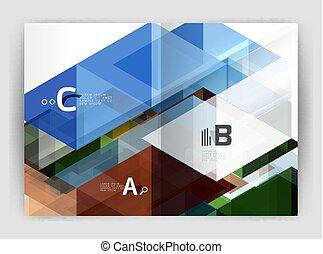 moderno, annuale, coperchio, vettore, relazione, geometrico