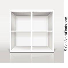 moderno, armariopara libros, blanco