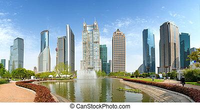 moderno, arquitectura, parques