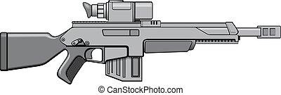 moderno, automático, arma de fuego