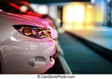 moderno, automobile, dettaglio, su, notte, parcheggio, lot.,...