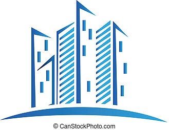 moderno, azul, edificios, logotipo