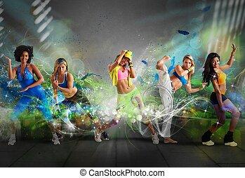 moderno, bailarín, equipo