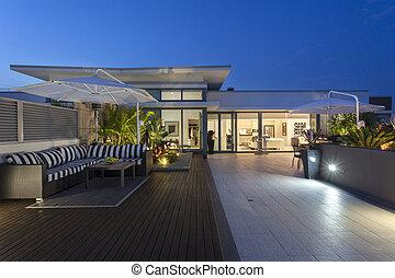 moderno, balcón