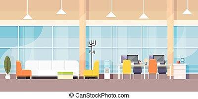 moderno, banco, interior de la oficina, lugar de trabajo, escritorio, plano, diseño