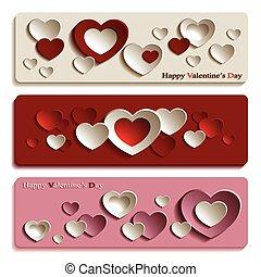 moderno, banderas, día, valentino