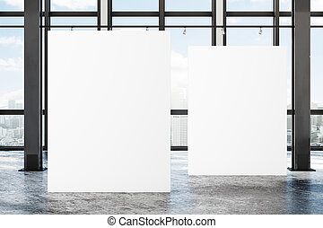 moderno, bandiera, soffitta, vuoto, galleria