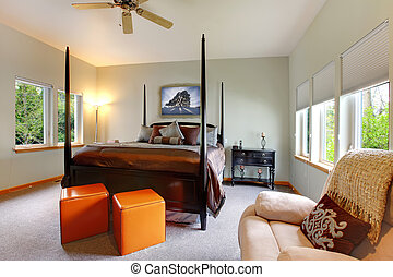 moderno, bed., grande, brillante, diseño, dormitorio, interior, poste
