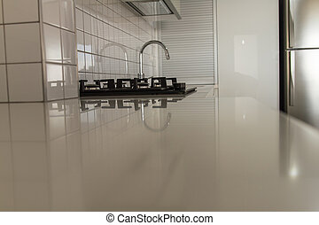 moderno, bianco, cucina, .