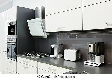moderno, bianco, cucina, pulito, disegno interno