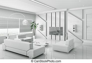 moderno, bianco, soggiorno, interno, 3d
