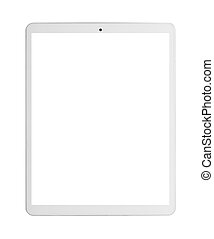 moderno, blanco, computadora personal tableta, con, blanco, screen.