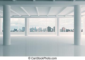 moderno, blanco, hangar, área, con, opinión de la ciudad