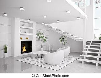 moderno, blanco, interior, de, sala, 3d, render