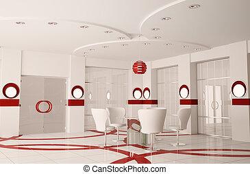 moderno, boardroom, interno, 3d