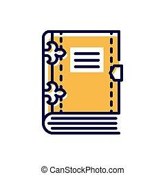 moderno, book-, solo, vector, línea, icono