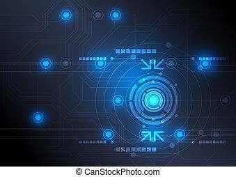 moderno, botón, y, tecnología, plano de fondo, diseño