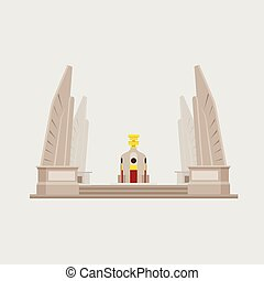 moderno, buiding, estatuas, objetos, icono, vector., tailandia, monumentos, thailand;