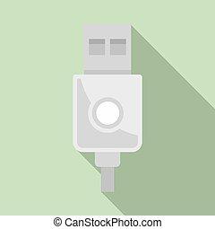 moderno, cable, estilo, icono, plano, usb