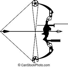 moderno, caccia, freccia, arco