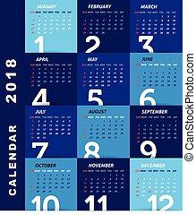 moderno, calendario, 2018, disegno, sagoma