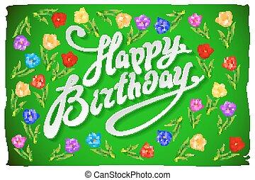 moderno, caligrafía, feliz cumpleaños, cepillado, caligrafía, texto, con, acuarela, flor, rosa, fondo., acuarela, peonías, fondo.