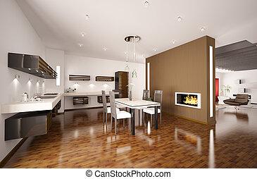 moderno, caminetto, 3d, render, cucina