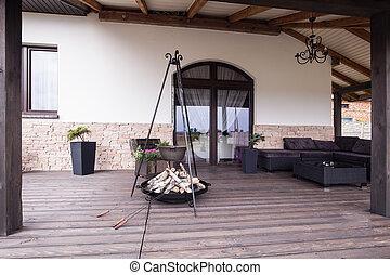 moderno, caminetto, patio