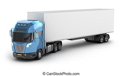 moderno, camion, con, contenitore carico