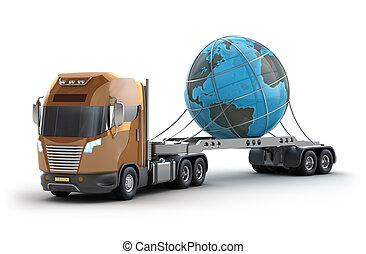moderno, camion, portante, terra
