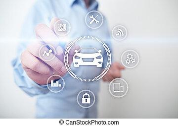 moderno, card., ia, comunicazione, simbolo, iot, fili, veicolo, automobile, automobile, icon., intelligente, concept., far male