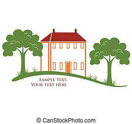 moderno, casa, con, albero, e, erba, in, vettore, formato