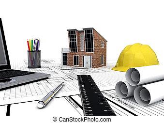 moderno, casa, proyecto