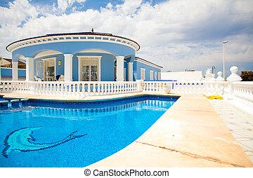 moderno, casa, y, piscina